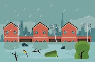 city flood scene vector