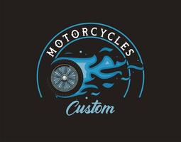 motorcycle tire onfire vector
