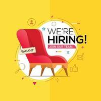Estamos contratando el concepto de anuncio de banner para vacante de trabajo. vector