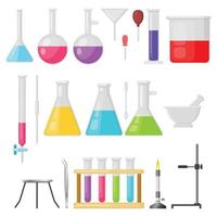 Set of laboratory equipment glassware vector illustration