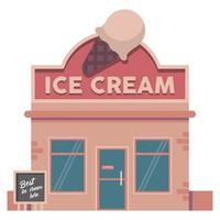 ice cream building vector