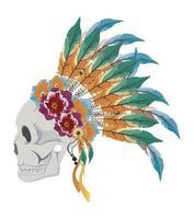 profile skull indian vector