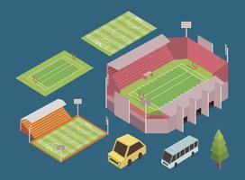 isometric five sport icons vector