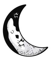 crescent moon phase vector