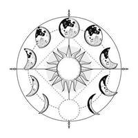 moon phases around vector