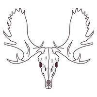 skull head of wild moose icon vector