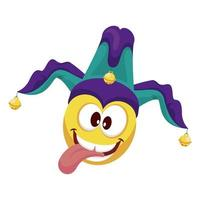 emoji with joker hat fools day accessory vector