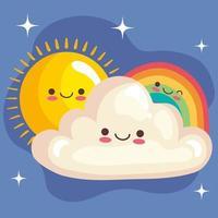 cute rainbow and cloud with sun stickers kawaii characters vector