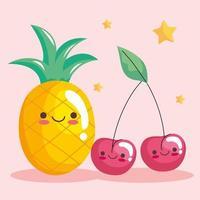 cute pineapple and cherries stickers kawaii characters vector