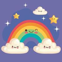 cute rainbow with stars and clouds stickers kawaii characters vector