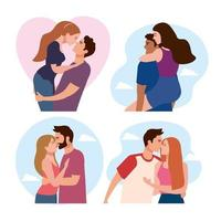 bundle of four couples lovers characters vector