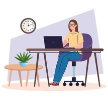 young woman freelancer worker in desk using laptop vector