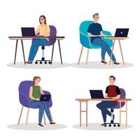 young people freelancers workers characters using laptops vector