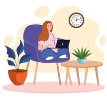 young woman freelancer worker seated in sofa with laptop character vector