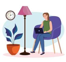 young woman freelancer worker seated in sofa using laptop vector