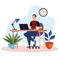 young male freelancer worker in desk using laptop vector