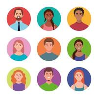 bundle of nine persons avatars characters vector
