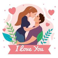 young lovers couple lifting and kissing with lettering in ribbon vector