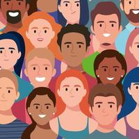 group of people group avatars characters vector