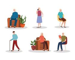 group of six elderly old people characters vector