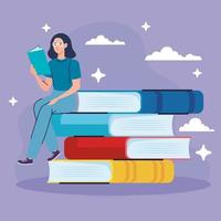 woman wearing eyeglasses reading text book seated in books vector