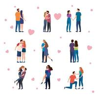 bundle of nine couples lovers characters and hearts vector