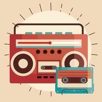 old retro radio device with cassette icon vector