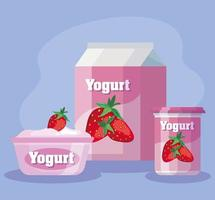 delicious strawberry flavor yogurt products vector