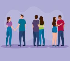 group of three lovers couples characters vector