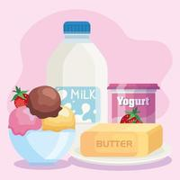 bundle of milk products set icons vector