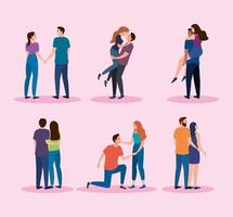 bundle of six couples lovers characters vector