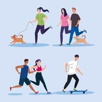 people doing activities collection vector design