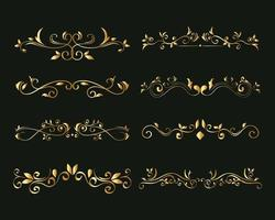 gold ornament element icon set on green background vector design