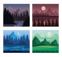 Landscape of mountains and pine trees frames icons vector design