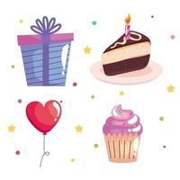bundle of four birthday celebration set icons vector