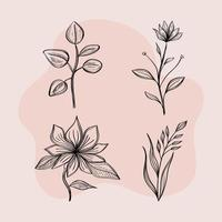 bundle of four flowers drawing nature ecology vector