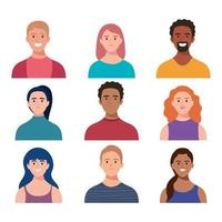 bundle of nine persons characters vector