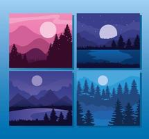 Landscape of mountains and pine trees frames icon set vector design
