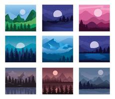Landscape of mountains and pine trees frames symbol set vector design