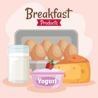 delicious breakfast set products icons vector