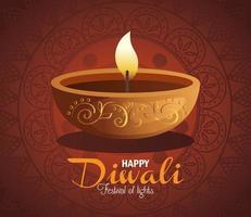 Happy diwali diya candle with mandala on red background vector design