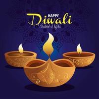 Happy diwali diya candles with mandala on blue background vector design