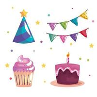 bundle of four party birthday celebration set icons vector