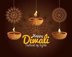 Happy diwali diya candles with mandalas hanging vector design