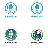 Eco World Nature Global Logo Design vector