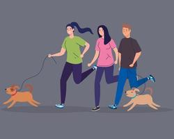 women and man running with dogs vector design