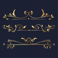 gold ornament element icon set on blue background vector design