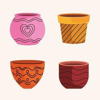bundle of empty ceramics pots of garden icons vector