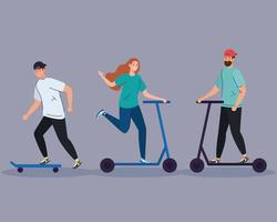man on skate and couple on scotter vector design