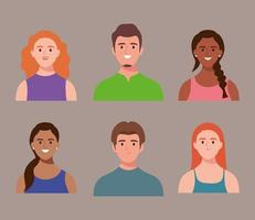 bundle of six persons avatars characters vector